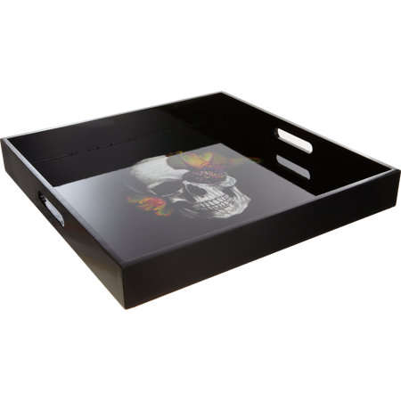 Sophisticated Halloween Skull Decor - Black Blooming's Skull Tray is a Chic Cocktail Party Accessory