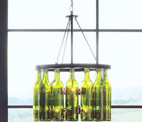 Upcycled Bottle Decorations - Add an Eco-Friendly Touch to Your Home with the Wine Bottle Chandelier
