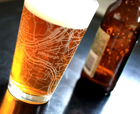 Etched Glass Map Pints