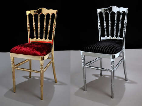 Regal Platinum-Plated Seating - Brycla Gold-Plated and Platinum Chairs are Made for Royalty