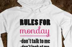 Bad Mood Clothing Designs - Get People to Back off with This 'Rules for Monday' Hoodie