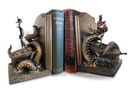 Sea Monster Sculpture Bookends
