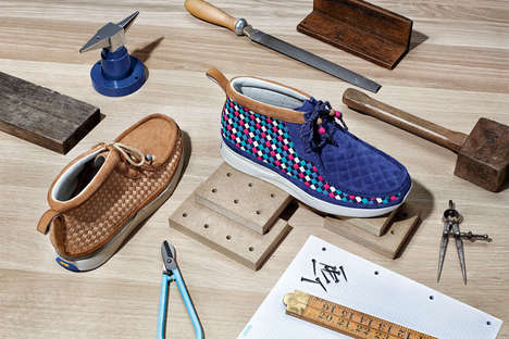 Eccentric Woven Wallabees - The Foot Patrol Clarks Shoes Collaboration Puts a Spin on the Wallabee