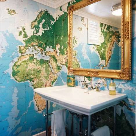 World Wallpaper Art - This World Map Wall Mural is Perfect for Geographers and Travelers