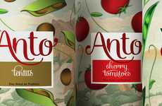 Cartoon-Covered Cans - Anto Packaging Charms with Scrumptiously Illustrated Bits of Vegetables