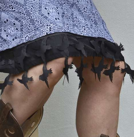 Creepy Crow Clothing Designs - The Black Bird Design Makes for a Great Witch Costume Skirt