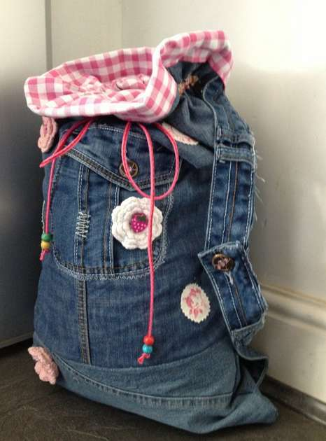 Custom Recycled Denim Sacks - This Vintage Denim Backpack is Great for Kids