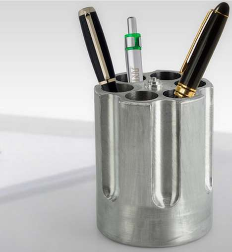 Gun Barrel Pen Holders - The Gun Cylinder Pen Holder is the Most Dangerous Looking Office Supply