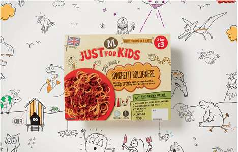 Doodled Food Branding - Just for Kids Packaging Serves Up a Playful Image for an Enjoyable Supper