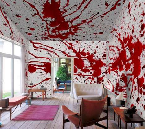 Blood-Splattered Wall Murals - Bloody Halloween Wallpaper Will Make Your Home into a Crime Scene