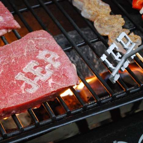 Steak Branding Tools - The Custom BBQ Branding Iron Sears Your Stamp on a Piece of Meat