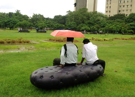 Inflatable Rain-Soaking Benches