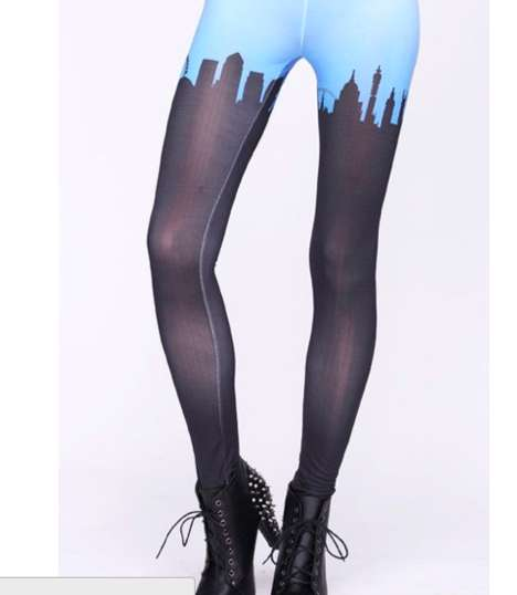 Colorblocked Cityscape Hosiery