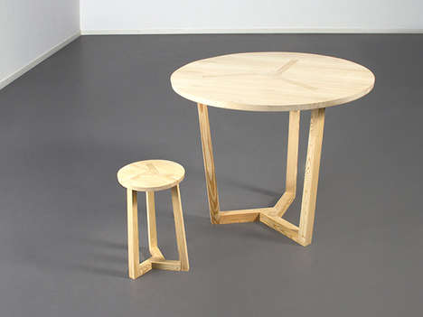 Unified Construction Tables - The Ter Table is Made from Nine Pieces of Separable Wood