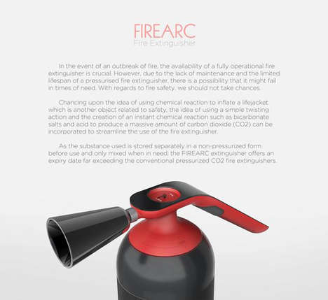 Spontaneous Fire Extinguishers - The Firearc Mixes Chemical Agents Upon Twisting a Cap