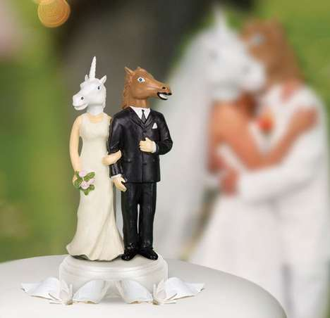 Animalistic Cake Toppers - The Unicorn and Horse Wedding Cake Topper are Charming