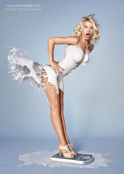 Milk-Splashed Pinup Girls - The 'Milky Pinups' Feature Dresses Made from Splashed Milk