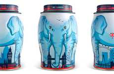 Elegant Elephant Canisters - Williamson Tea Packaging is Iconic, Exquisite and Eye-Catching