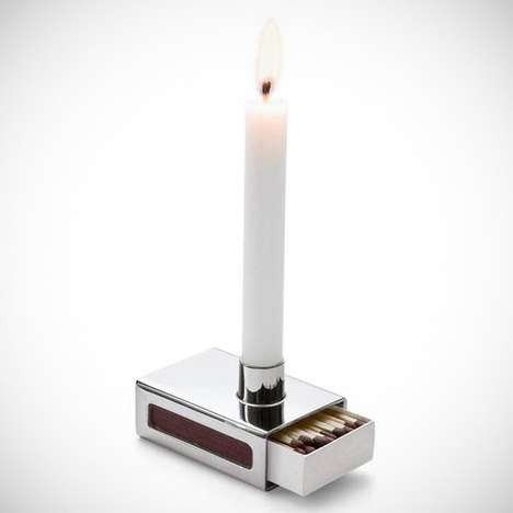 Matchbox Concealing Candle Holders - The Matchbox Candle Holder Fits a Box of Matches in its Base