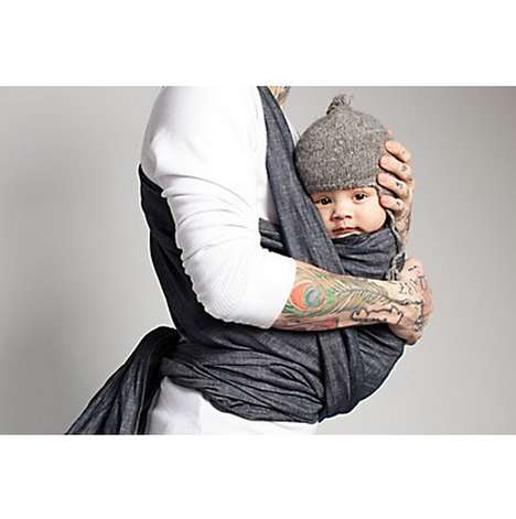 Alterable Denim Baby Carriers - The Bykay Woven Denim Wrap Adds Quality to Comfort