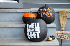 DIY Chalkboard Text Pumpkins - These Typographic DIY Halloween Pumpkins Display Spooky Text