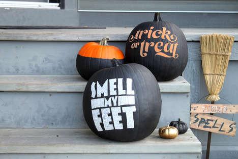DIY Chalkboard Text Pumpkins