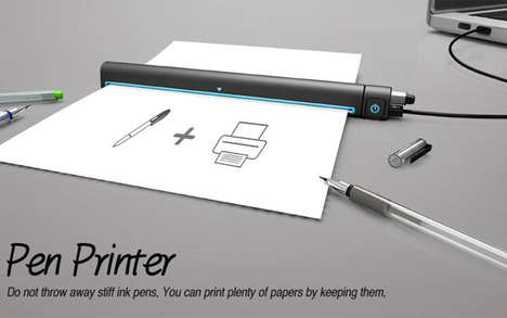 Ballpoint Pen Printers - The Pen Printer Makes Use of Discarded Writing Implements for Ink