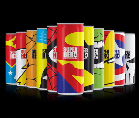 Superhero-Inspired Energy Drinks - Mike Karolos' Energy Drink Bottle Design Packs a Punch
