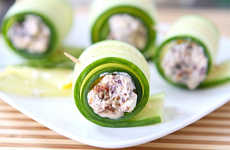 Sushi-Inspired Vegetarian Snacks - Cucumber Feta Rolls are a Quick Treat to Whip Up for Guests