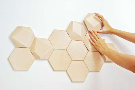 Beehive Wooden Wall Decor - These Wooden Wall Tiles Can Be Customized to Your Tastes