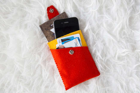 DIY Felt Phone Carriers - This Felt Phone Wallet is Ideal for Storing Money and Mobile Devices