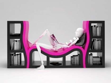 This Sleek Bookshelf Includes a Stylish Reading Lounge