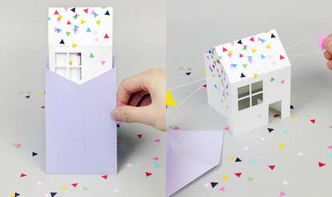 3D Paper House Invitations - This Adorable DIY Paper Invitation is Loaded with Surprises