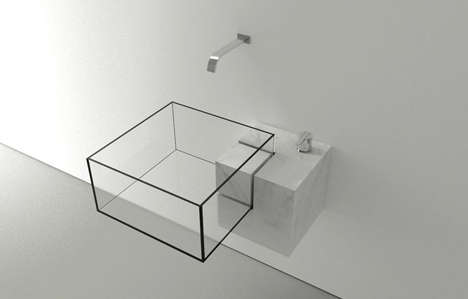 Invisible Geometric Basins - The Transparent Glass Kub Sink is Discernible Only at its Edges