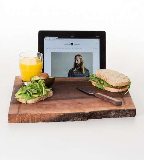Tablet Chopping Boards - The Big Chop Holly Oak Kitchen Board Has an Integrated Tablet Display