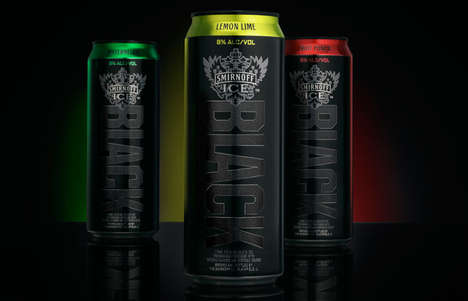 Matte Black Beverage Cans - The Smirnoff Black Cans Are Minimal, Elegant and Easy to Identify