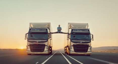 Action Hero Auto Ads - Jean Claude Van Damme Does the Splits in Between Two Moving Volvo Trucks