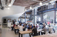 Lofty Social Media HQs - Pinterest's New Creative Workspace is in a San Fransisco Warehouse