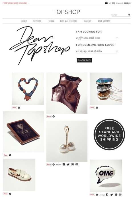 Pinboard-Retailer Holiday Collabs - The 'Dear Topshop' Campaign Makes It Easy to Buy from Topshop