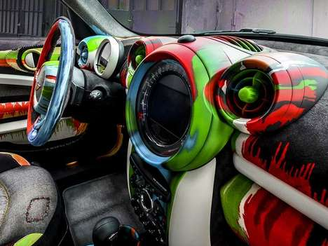 Studio-Inspired Art Cars - The Mini Cooper Painter's Expertly Recreates an Artist's Workplace