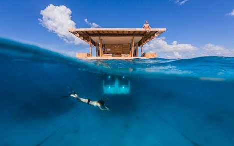 Underwater Hotel Rooms - The Partially Submerged Manta Resort Offers Astounding Aquatic Views