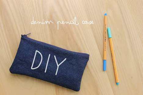 Upcycled Denim School Supplies - Turn Old Jeans into Practical Pencil Cases with This DIY Activity