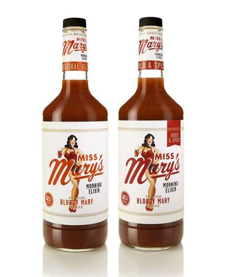 Retro Pin-Up Packaging - This Miss Mary's Beverage Branding Embraces Vintage Imagery