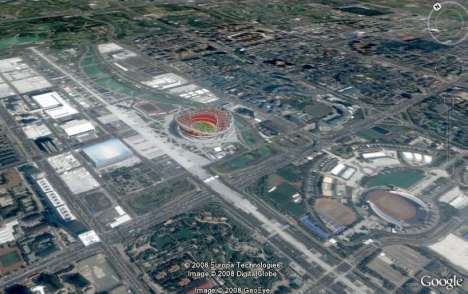 Beijing Olympics on Google Earth - 3D Aerials of China