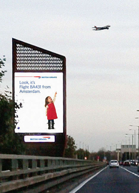 Airplane Interactive Billboards - The British Airways #Lookup Campaign Inspires Travel Dreamers