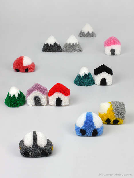 DIY Pom-Pom Village Playsets