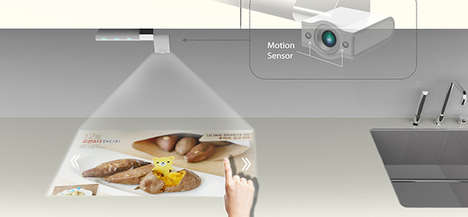 Projected Culinary Technology - The Smart Kitchen TV Enhances Cooking with Hi-Tech Handsfree Support