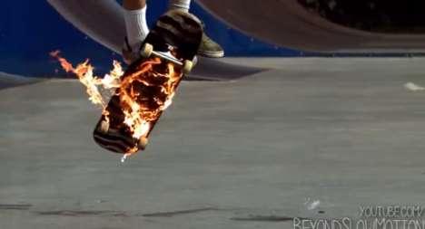 Fiery Skateboard Stunts