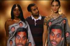 Silly Face-Plastered Saris - The Indian Inspired Aziz Ansari Fashion Trend was Featured on Conan