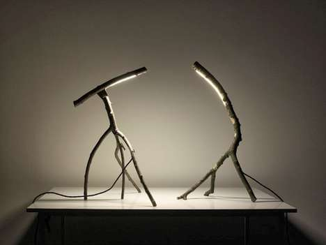 Twiggy LED Lamps - These Charming 'Little Tree Friends' Lights are Made From Tree Branches